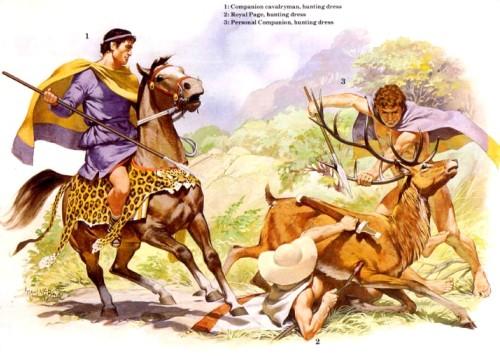 1- кавалерист-гетайр (охотничья одежда); 2 - царский паж (охотничья одежда); 3 - личный телохранитель (охотничья одежда).