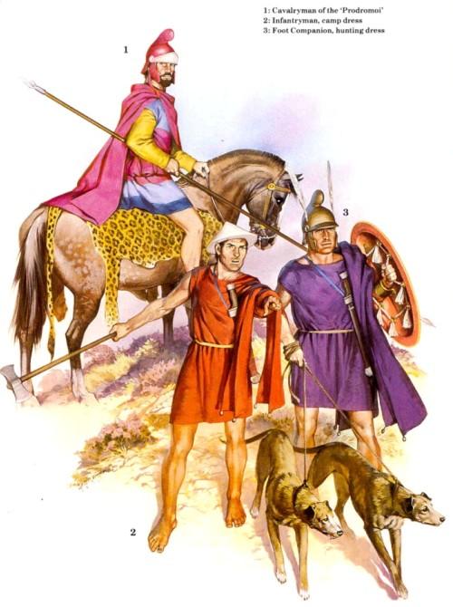 1 - кавалерист-продром; 2 - пехотинец; 3 - пеший гвардеец (охотничья одежда).