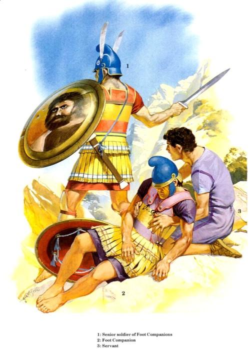 1 - пеший царский гвардеец; 2 - греческий наемник на персидской службе; 3 - офицер царской гвардии.
