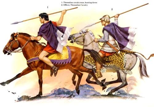 1 - фессалийский кавалерист (охотничья одежда); 2 - офицер фессалийской кавалерии.