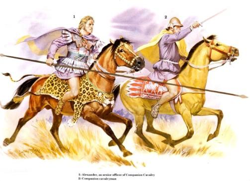 1 - Александр в качестве командира кавалерии гетайров; 2 - кавалерист-гетайр.