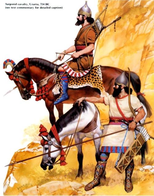 Ассирийская и вспомагательная пехота (конец VIII в. до н.э.): 1 - ассирийский гвардеец; 2 - пращник; 3 - ново-хеттский пехотинец.