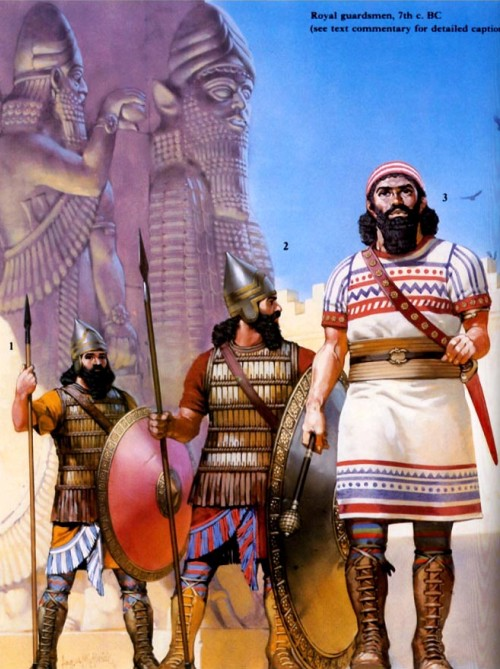 Ассирийские солдаты в Вавилонии (начало VIII в. до н.э.): 1 - кавалерист; 2 - копьеносец; 3 - ополченец-лучник.
