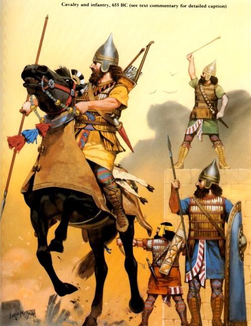 Царские гвардейцы (VII в. до н.э.): 1,2 - щитоносцы, 3 - гвардейский офицер в придворном костюме.