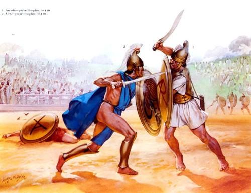 1 - аркадский гоплит (364 г. до н.э.); 2 - элийский гоплит (364 г. до н.э.).