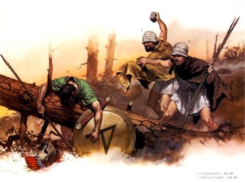 """1,2 - греческие """"псилои""""-застрельщики (426 г. до н.э.); 3 - афинский гоплит."""