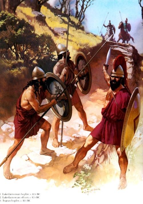 1- лакодемонский гоплит (413 г. до н.э.); 2 - лакодемонский офицер (413 г. до н.э.); 3 - тегейский гоплит (413 г. до н.э.).