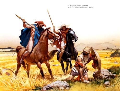 1 - беотийский гоплит (440 г. до н.э.); 2,3 - фессалийские кавалеристы (440 г. до н.э.).