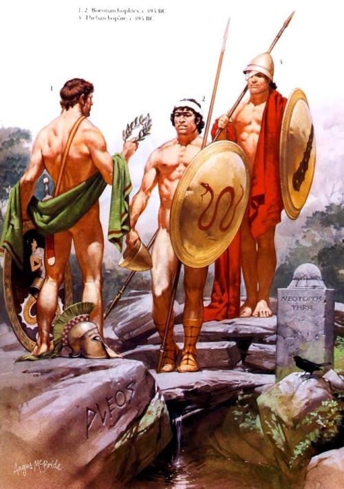 1,2 - беотийские гоплиты (395 г. до н.э.); 3 - фиванский гоплит (395 г. до н.э.).