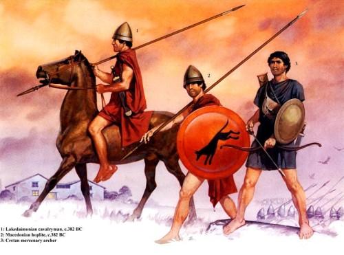 1 - лакодемонский кавалерист (382 г. до н.э.); 2 - македонский гоплит (382 г. до н.э.); 3 - наемный критский лучник.