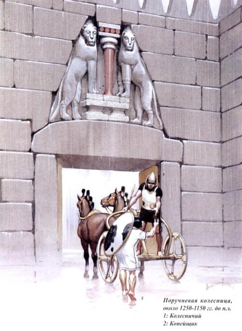 Поручневая колесница (окло 1250-1150 гг. до н.э.): 1 - колесничий; 2 - копейщик.