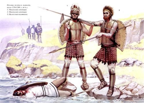 Пехота раннего периода (около 1500 г. до н.э.): 1 - феранский тяжеловооруженный воин; 2 - воин, вооруженный мечом; 3 - тяжеловооруженный копейщик.