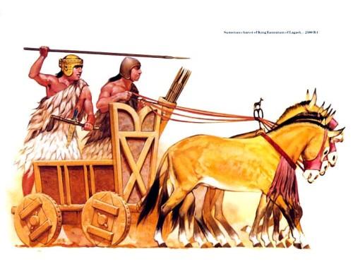Шумерская колесница из армии Каннатума, царя Лагаша (ок. 2500 г. до н.э.)
