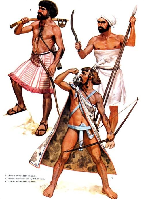 1 - лучник-семит (XII династия); 2 - воин-бедуин Шасу (XIX династия); 3 - ливийский лучник (XX династия).