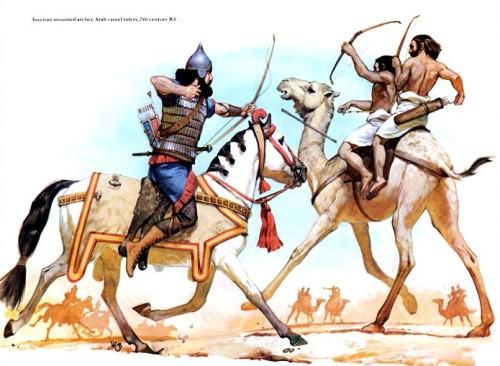 Ассирийский конный лучник и арабские верблюжьи наездники (VII в. до н.э.)