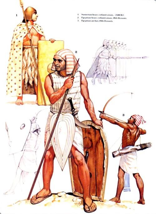 1 - шумерский тяжелый пехотинец (ок. 2500 г. до н.э.); 2 - египетский тяжелый пехотинец (XIX династия); 3 - египетский лучник (XIX династия).