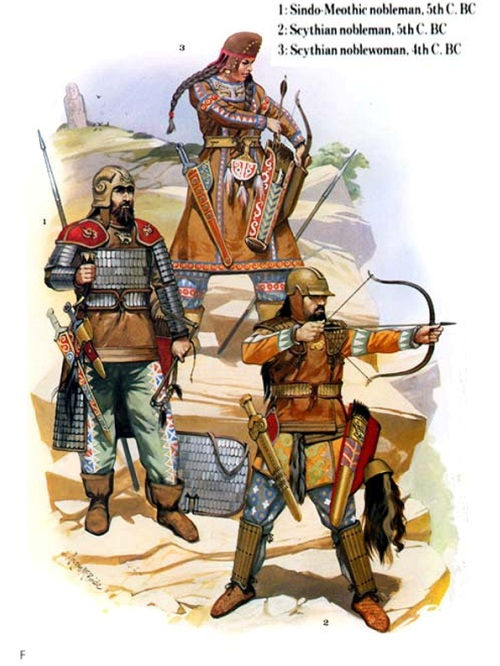 1 - синдо-меотский знатный воин (V в. до н.э.); 2 - знатный скифский воин (V в. до н.э.); 3 - скифская воительница (IV в. до н.э.).