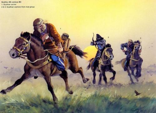 Скифия (VI в. до н.э.): 1 - скифский лучник; 2, 3 - скифские воины из враждебного племени.