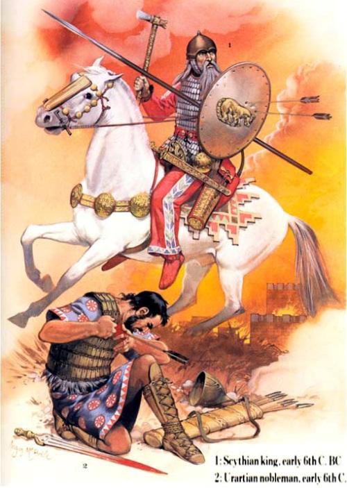 1- царь скифов (начало VI в. до н.э.); 2 - знатный урартский воин (начало VI в. до н.э.).