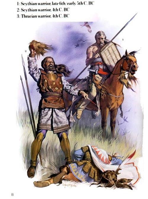 1- скифский воин (конец VI в. до н.э. - начало V в. до н.э.); 2 - скифский воин (IV в. до н.э.); 3 - фракийский воин (IV в. до н.э.).