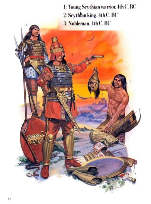 1 - молодой скифский воин (IV в. до н.э.); 2 - царь скифов (IV в. до н.э.); 3 - знатный воин (IV в. до н.э.).