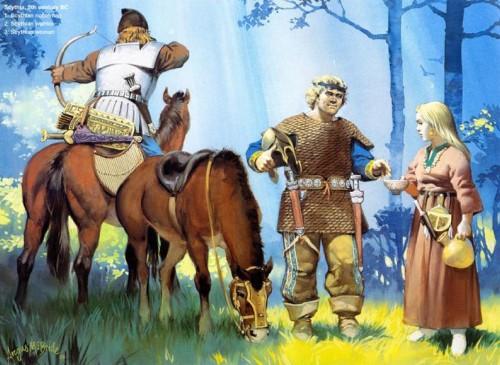 Скифия (V в. до н.э.): 1 - знатный скиф; 2 - скифский воин; 3 - скифская женщина.