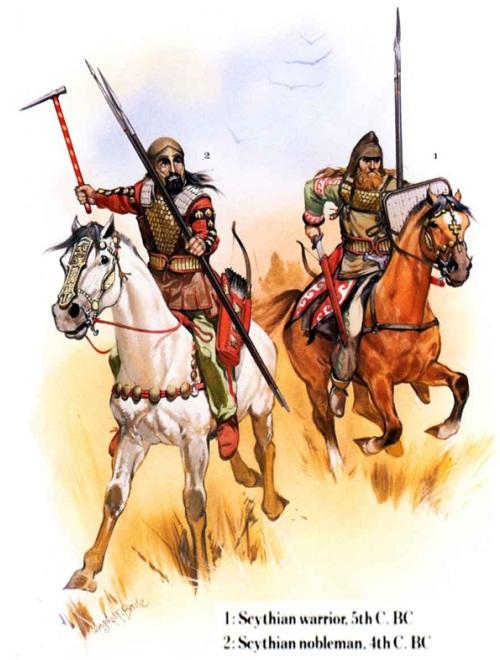 1 - скифский воин (V в. до н.э.); 2 - знатный скифский воин (IV в. до н.э.).