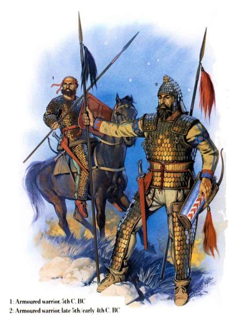 1 - царь скифов (конец V в. до н.э. - начало IV в. до н.э.); 2 - знатный скифский воин в доспехе (IV в. до н.э.).