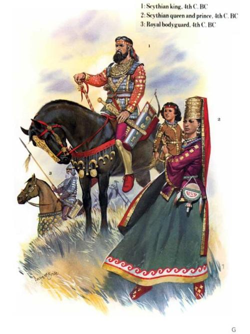 1 - царь скифов (IV в. до н.э.); 2 - скифская царица и царевич (IV в. до н.э.); 3 - царский телохранитель (IV в. до н.э.).
