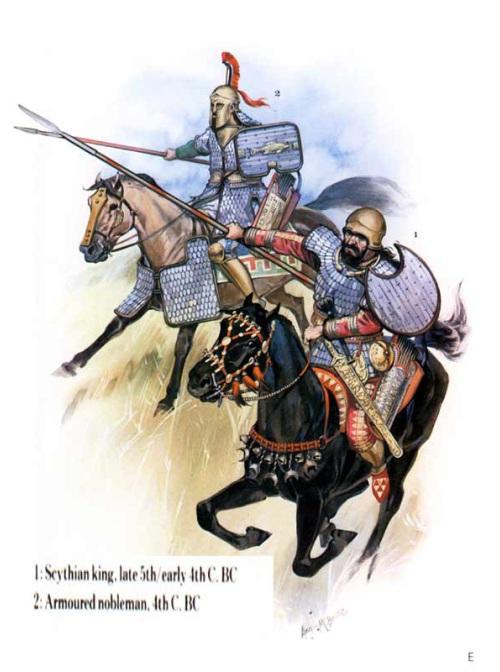 1 - воин в доспехе (V в. до н.э.); 2 - воин в доспехе (конец V в. до н.э. - начало IV в. до н.э.).