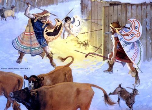 Нападение на укрепление трибаллов (424 г. до н.э.): 1 - трибалльский пельтаст; 2 - одрисский лучник; 3 - дийский пельтаст.