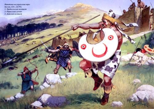 Ночная атака финов (400 г. до н.э.): 1 - фракийский трубач; 2 - фракийский конный телохранитель.