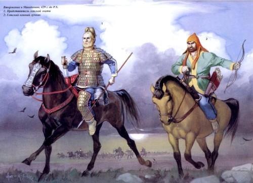 Вторжение в македонию (429 г. до н.э.): 1 - представитель гетской знати; 2 - гетский конный лучник.