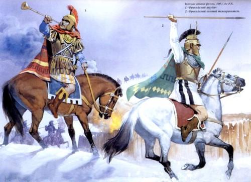 Ночная атака финов (400 г. до н.э.): 1, 2 - пельтасты; 3 - фракийский мальчик.